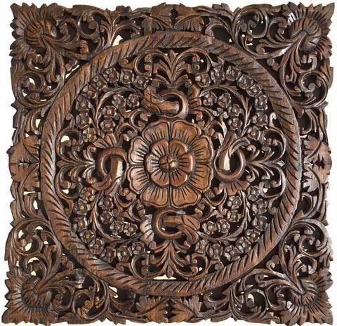 round wood plaque oriental carved lotus teak wood wall hanging