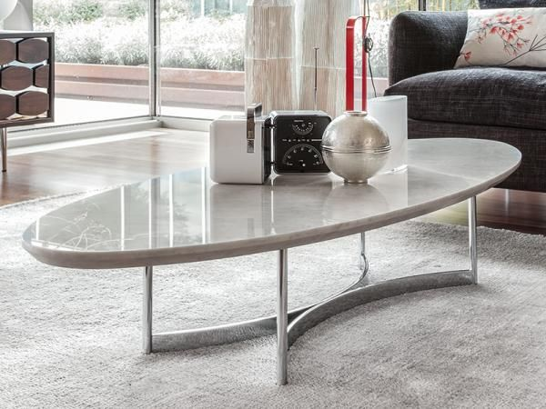 Elegant Oval Coffee Table In White Marble Top Coffee Table