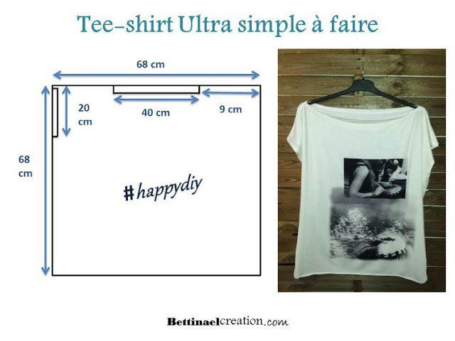 Diy patron tee shirt ultra facile faire faire soi m me son top en moins d une heure source - Faire un t shirt personnalise soi meme ...