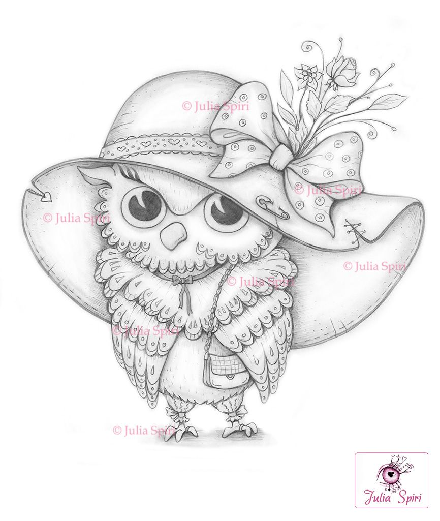 Owl Coloring Page Digital Stamp Digi Fashion Hat Bird Etsy Owl Coloring Pages Owls Drawing Coloring Pages