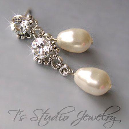 ELLEN  Solitaire Drop Crystal and Pearl Earrings  by TZTUDIO, $25.00