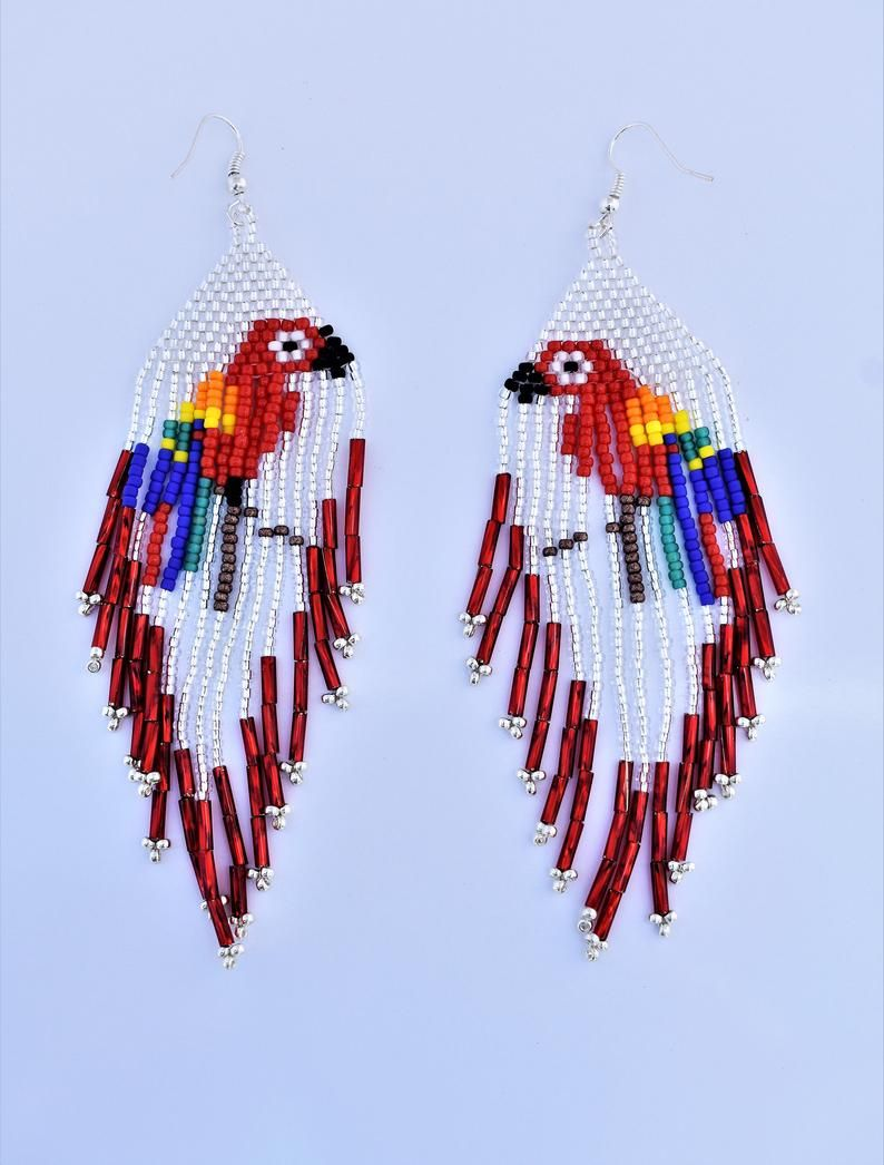 af1b21d90 Parrot earrings beaded earrings dangling earrings #parrotearrings  #parrotjewelry #iloveparrots
