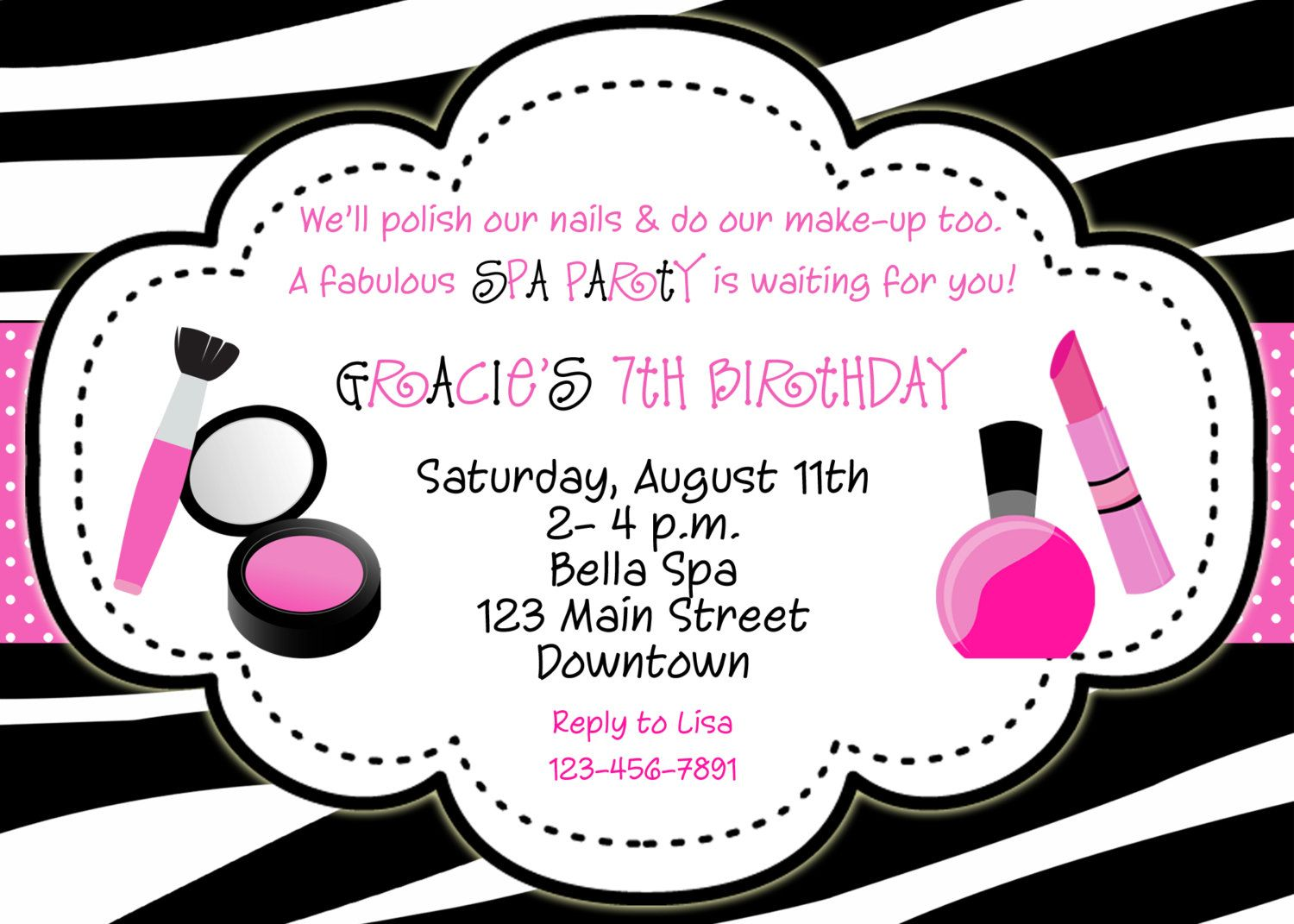 Spa Birthday Party Invitation Make Up Nail Polish Glamour Party ...