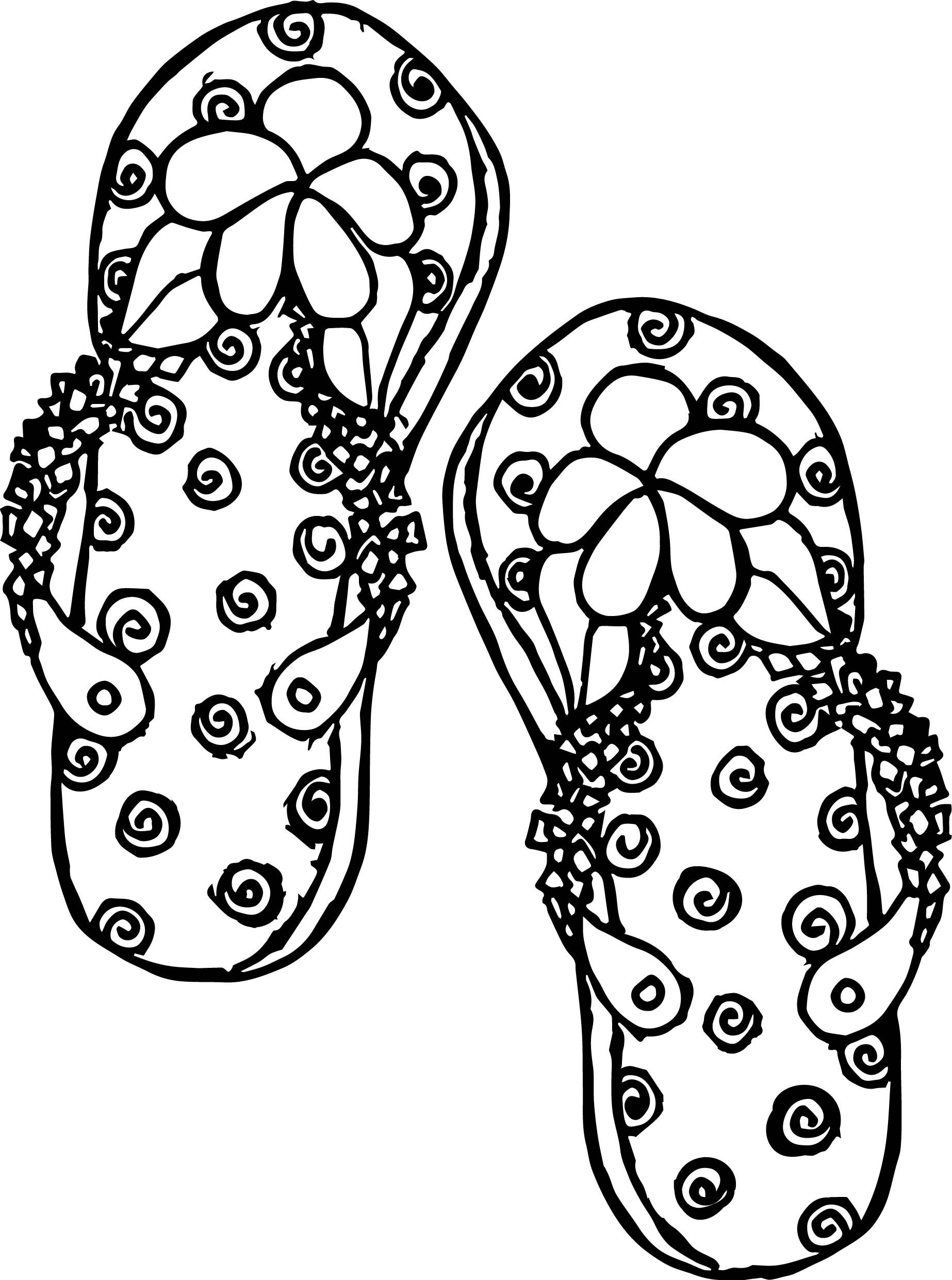 Cool Summer Slipper Coloring Page Coloring Pages Summer