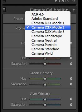 Lightroom camera calibration