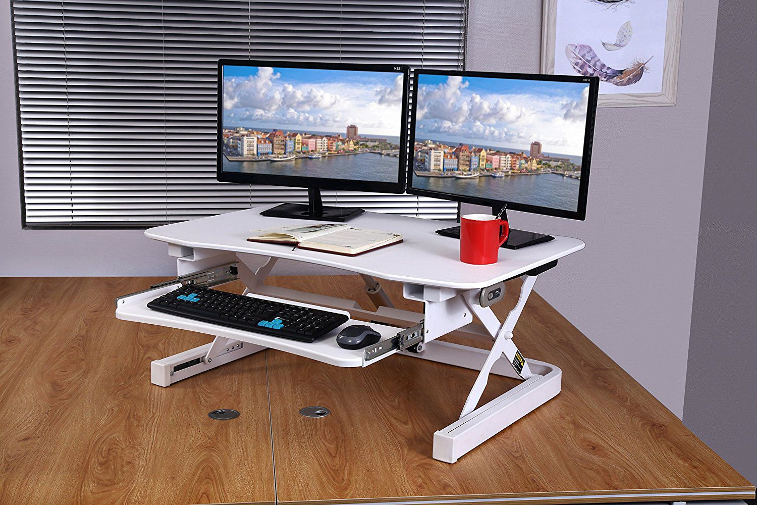 Height Adjustable Sit To Stand Electric Desk Converter The Desk