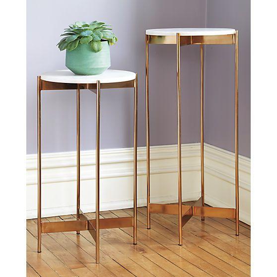 marble rose gold pedestal tables cb2 home salons. Black Bedroom Furniture Sets. Home Design Ideas