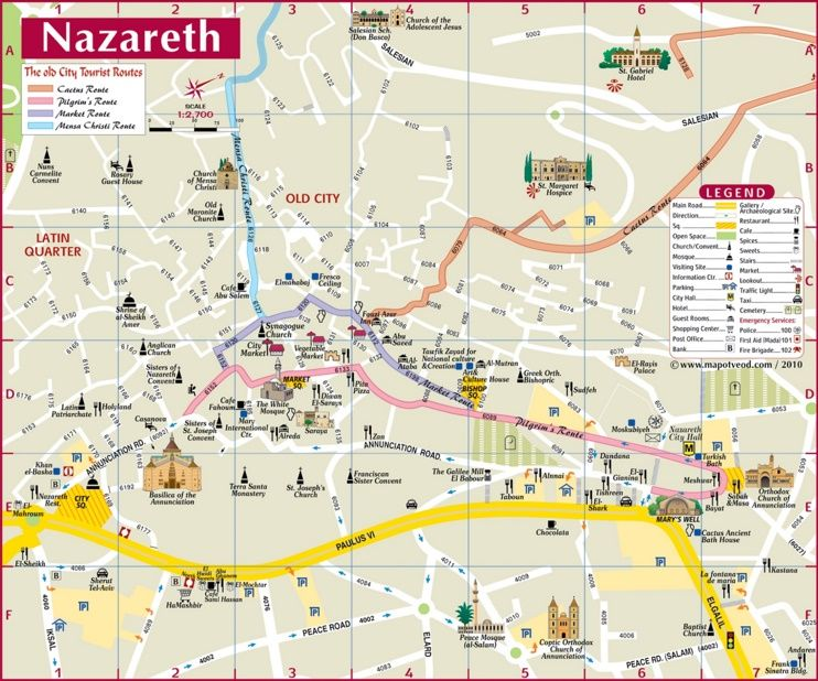 Nazareth sightseeing map Maps Pinterest Israel and City