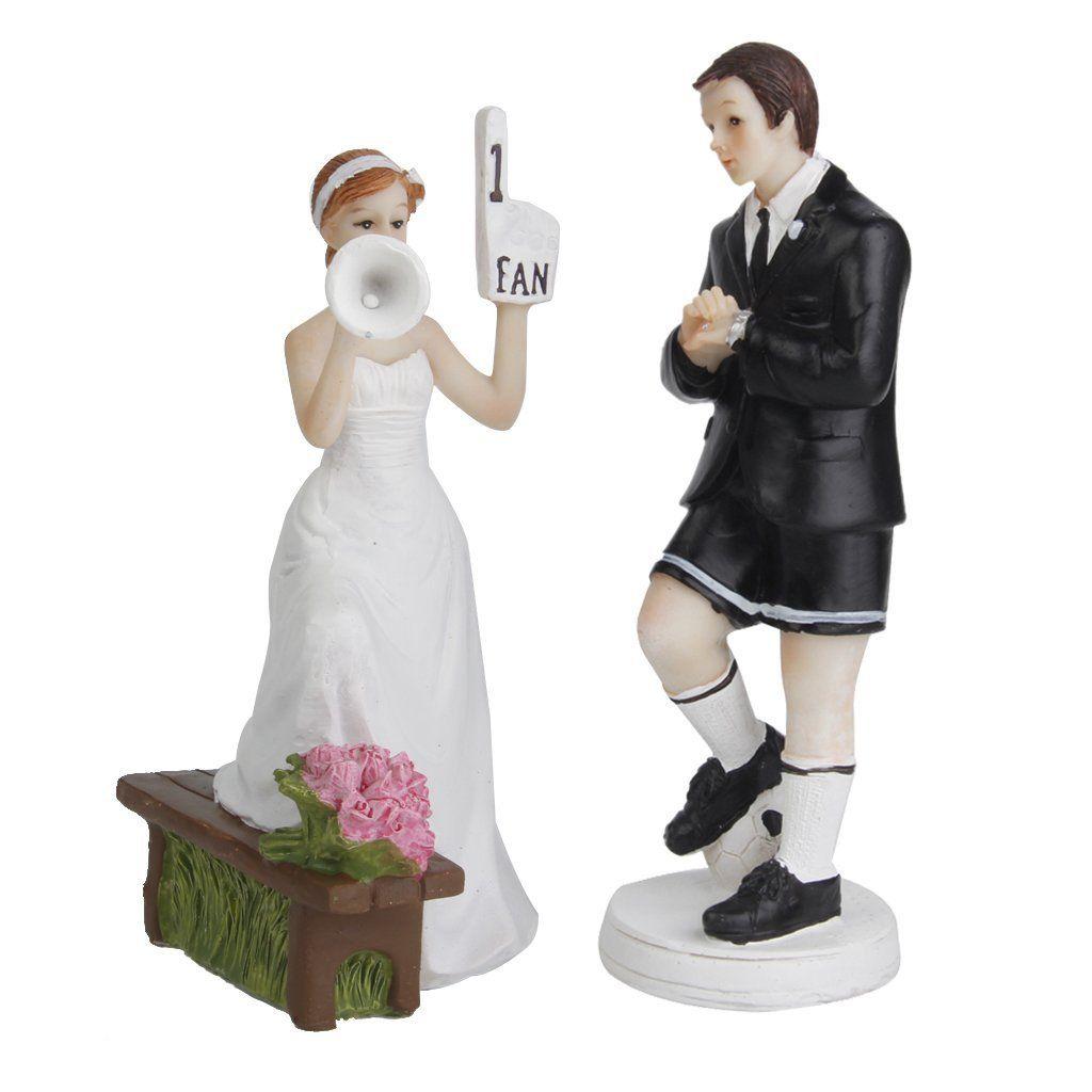 Amazon Romantique Figurine Bride Groom Football Toppers g¢teau