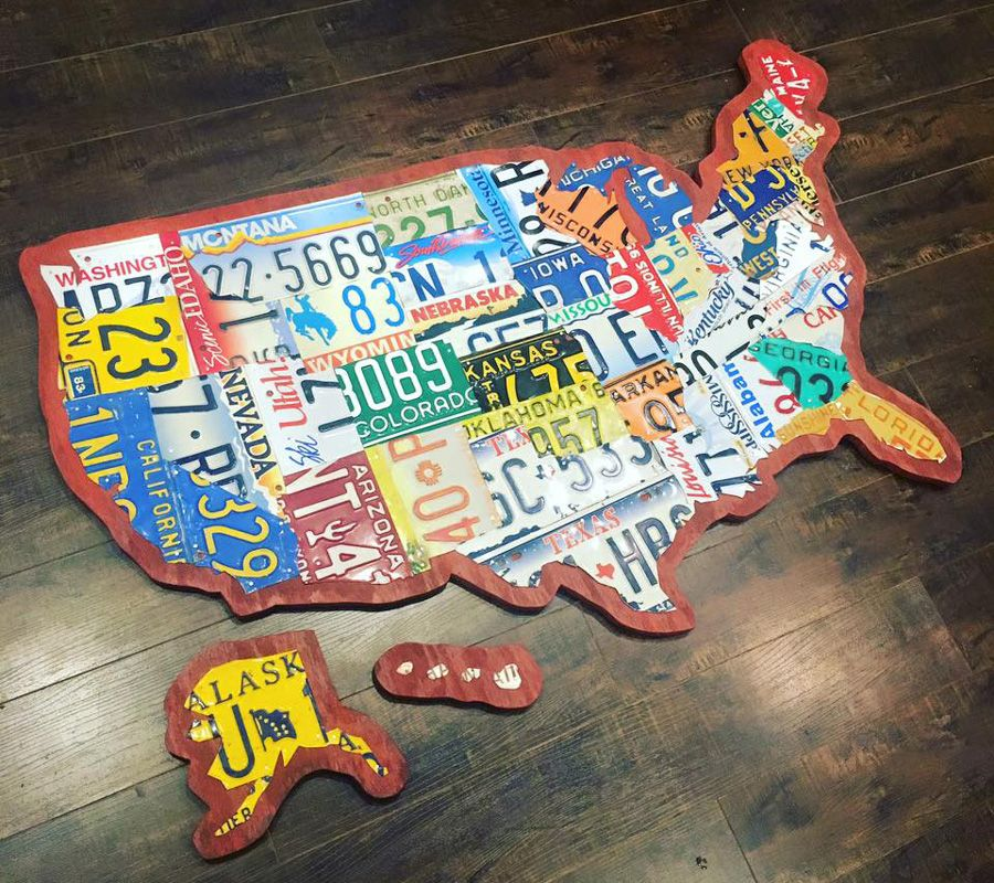 License Plate United States Map.Auction For This Large Handmade Original License Plate Map Of The