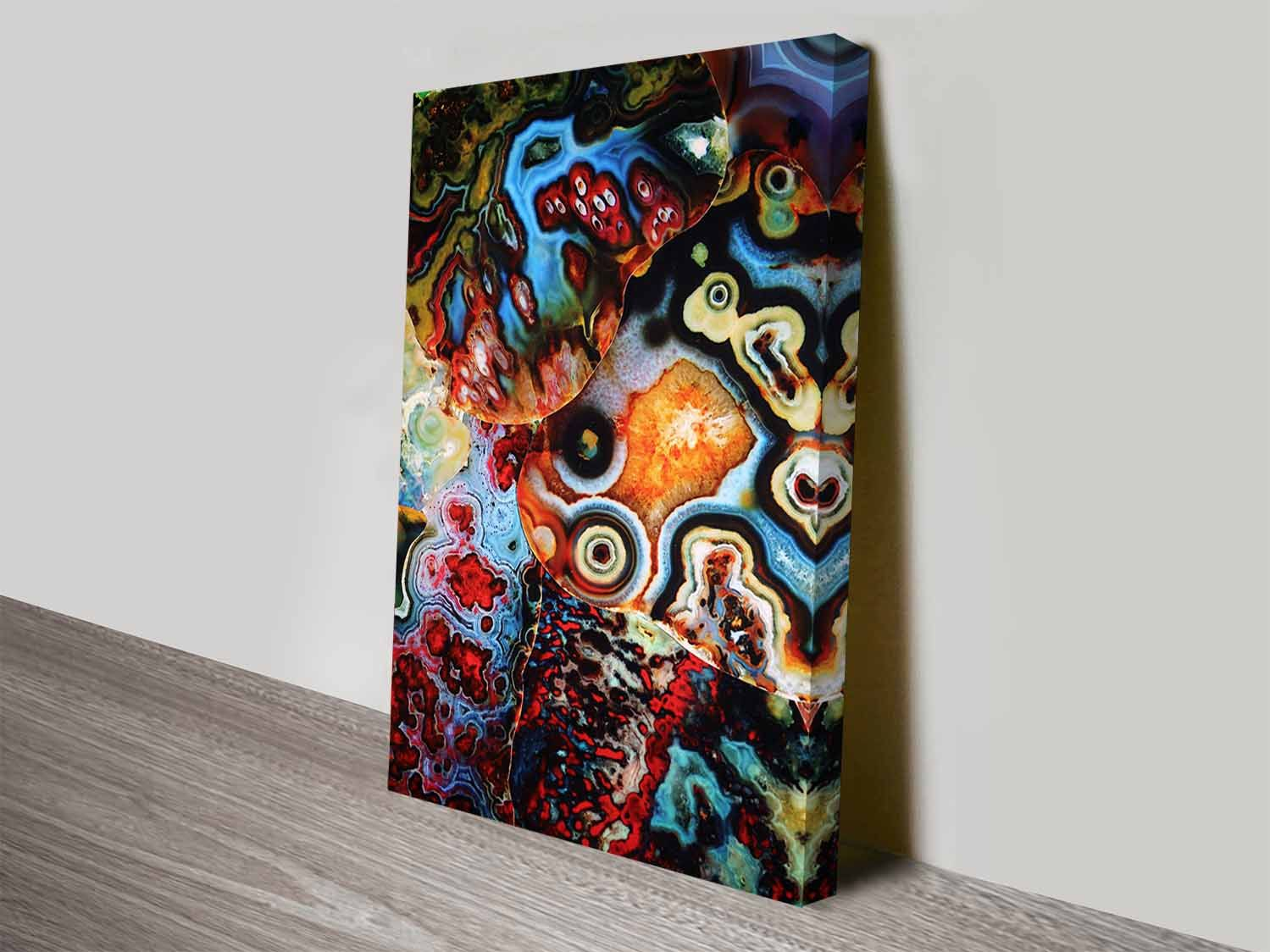 On this ready to hang wall art canvas print is an elena kulikovas metamorphic earth layers an amazing agate collection of many different colours