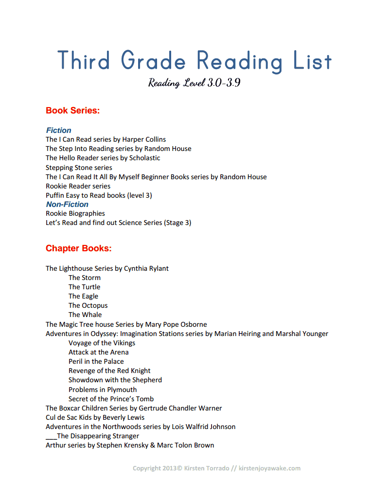 Third Grade Reading List.pdf-Kristen Joy Awake | Book Lists ...