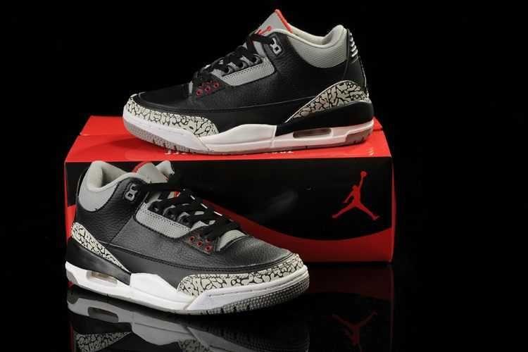 Homme Nike Air Jordan 3 Noir Gris Rouge [A32e]
