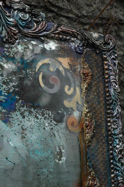 Decoupage I Jedwabie Ma Ryski Lustro Decoupage Stemple