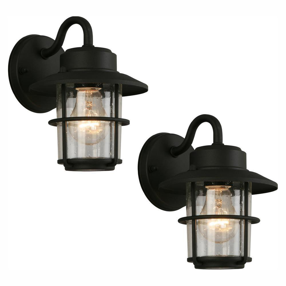 Hampton Bay 1 Light Black Outdoor Wall Lantern Sconce 2 Pack Jbo1691a 4 The Home Depot In 2020 Wall Mount Lantern Outdoor Wall Lantern Wall Lantern