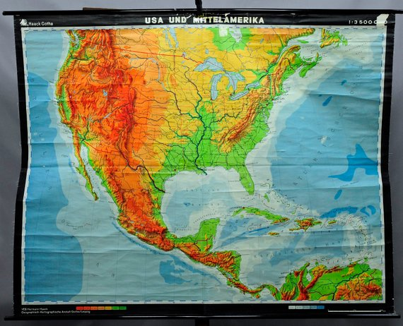 vintage rollable geographical wall chart poster, map, USA and Middle ...