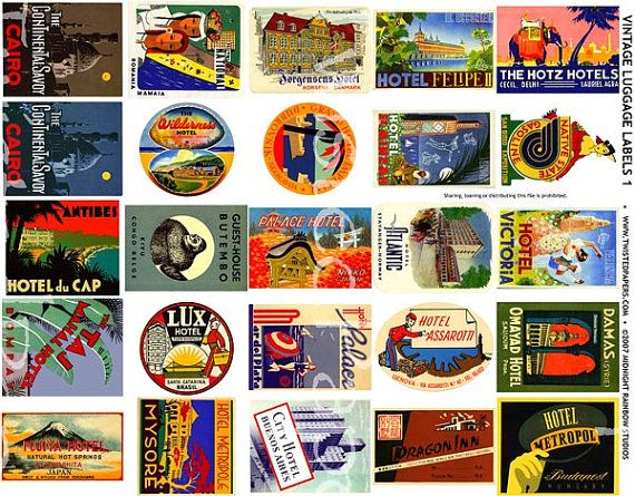 8 Vintage Luggage Stickers | Luggage stickers, Vintage luggage and ...
