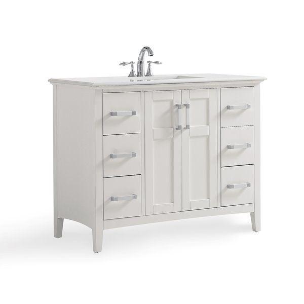 Simpli Home Winston 42 In Off White With Sink Bombay Quartz