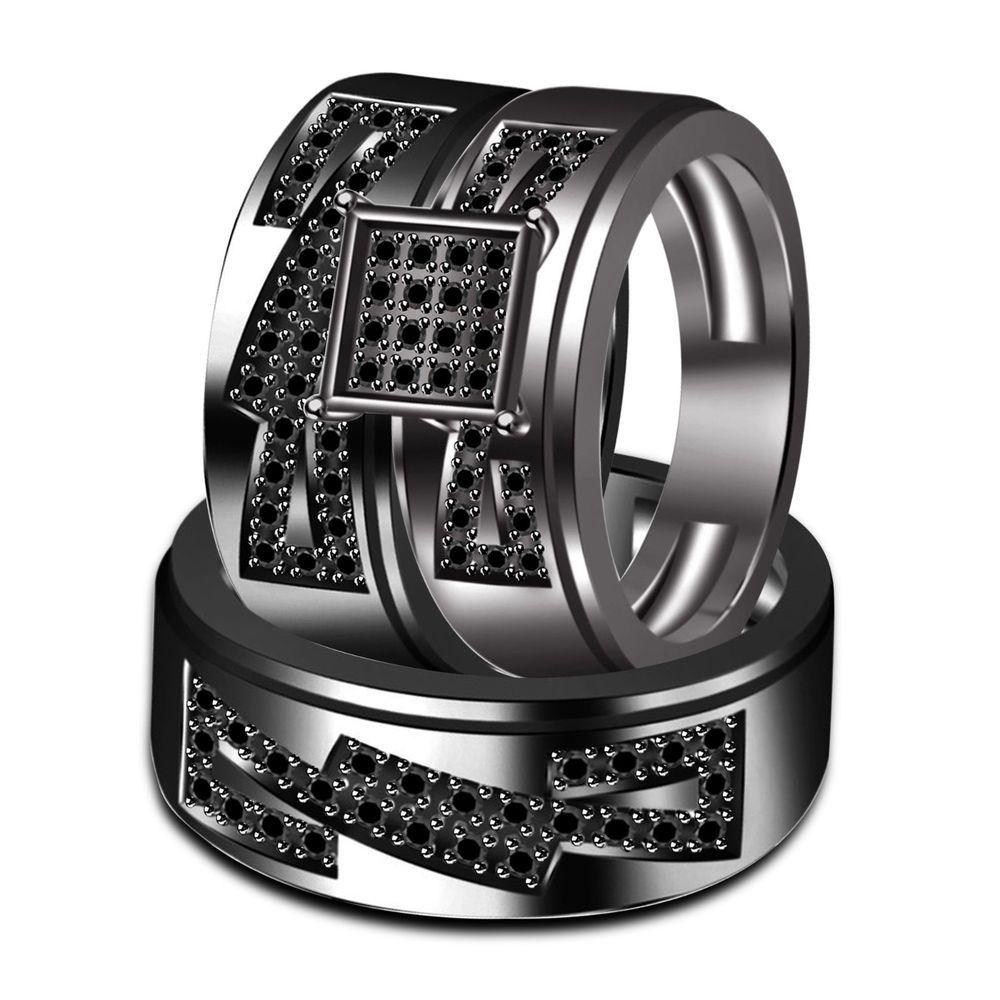 Full Black 925 Sterling Black Diamond Engagement Wedding