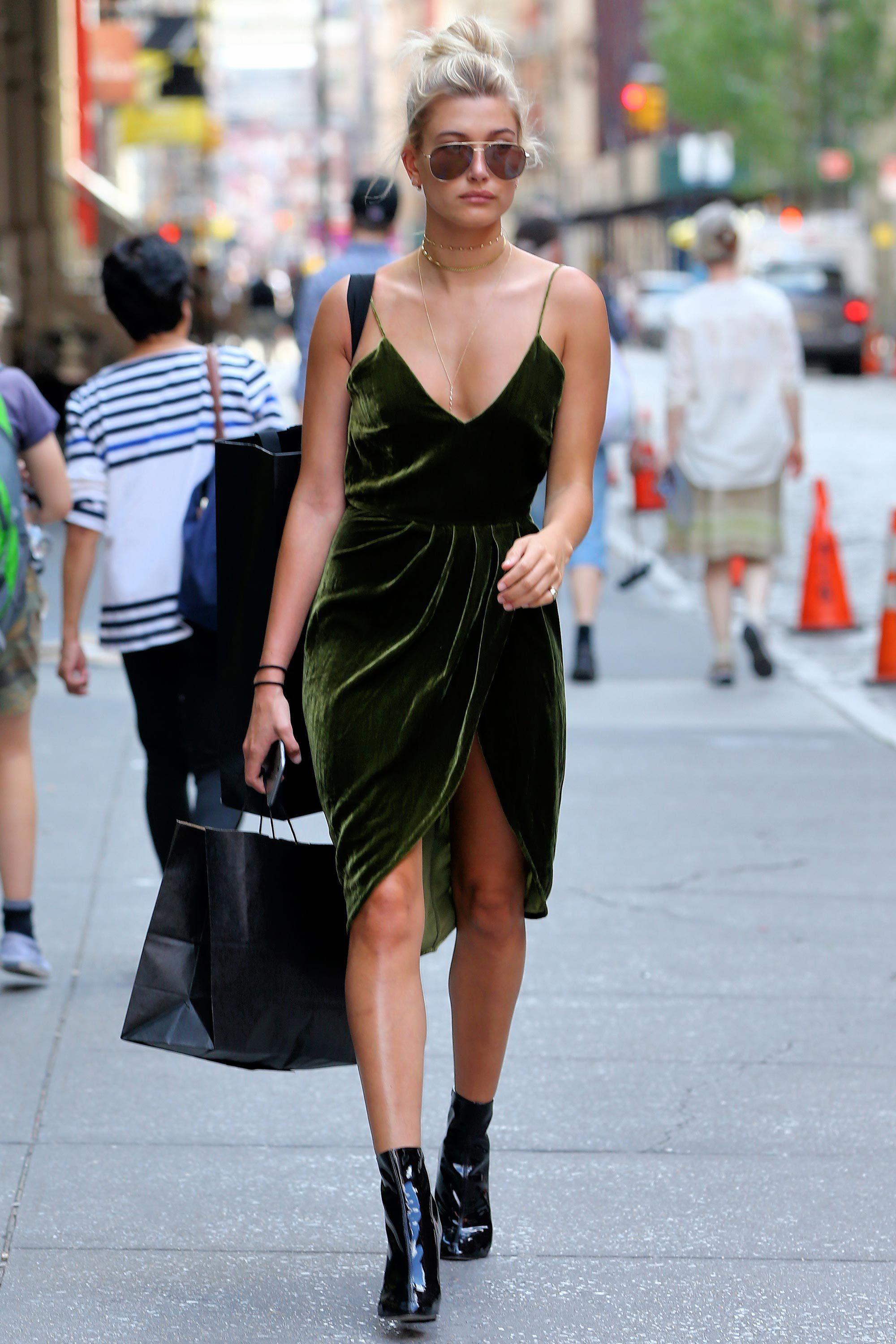 448a707b4869 Hailey Baldwin Supercharges Her Summer Bronze. Hailey Baldwin Supercharges  Her Summer Bronze Green Velvet ...