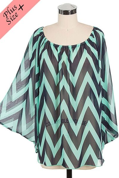 *** New Style *** Sheer Chevron Blouse with Bell Sleeves and Boat Neckline.