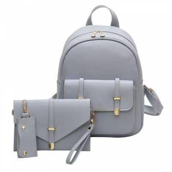 5bcd3b610b 3pcs Women PU Leather Backpack School Bag Shoulder Bags Card Holder Purse