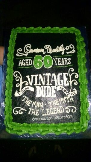 Vintage Dude 60th Birthday Cake