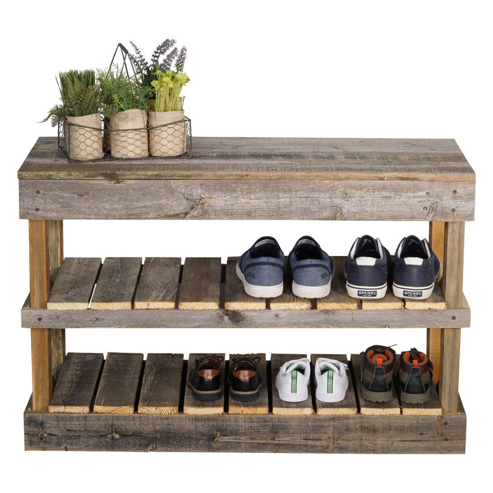 Del Hutson Reclaimed Wood Schuhbank Walmart Com In 2020 Wood Shoe Rack Diy Shoe Rack Shoe Rack Walmart
