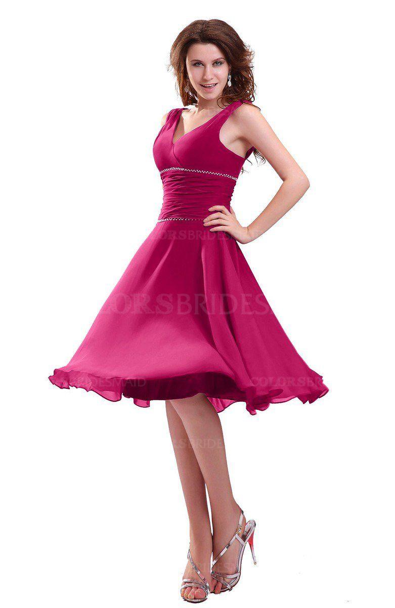a750c079e3b2 Beetroot Purple Informal Zipper Chiffon Knee Length Sequin Bridesmaid  Dresses (Style D37895)