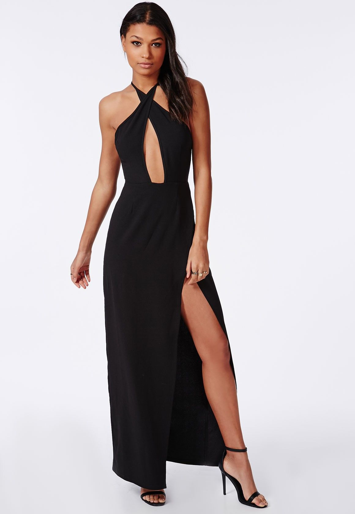 Look seriously chic in this crepe fabric black maxi dress ...