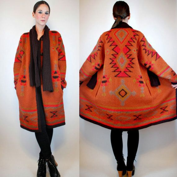 BLANKET Wool Sweater COAT. Bohemian Southwestern Navajo Duster ...
