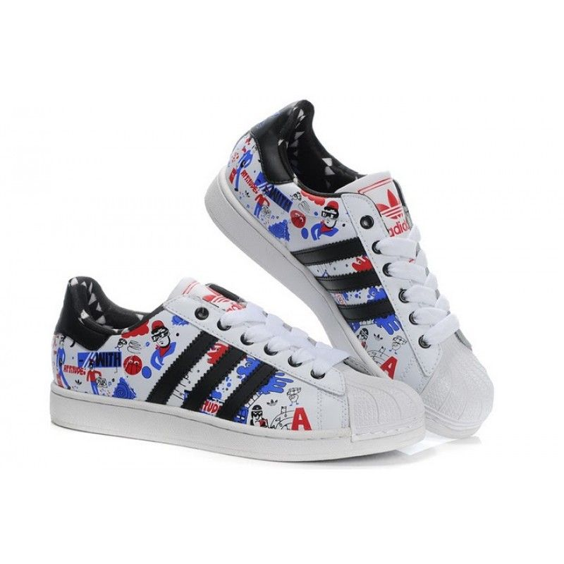 Adidas Superstar II White / Black / Blue / Graffiti G43778