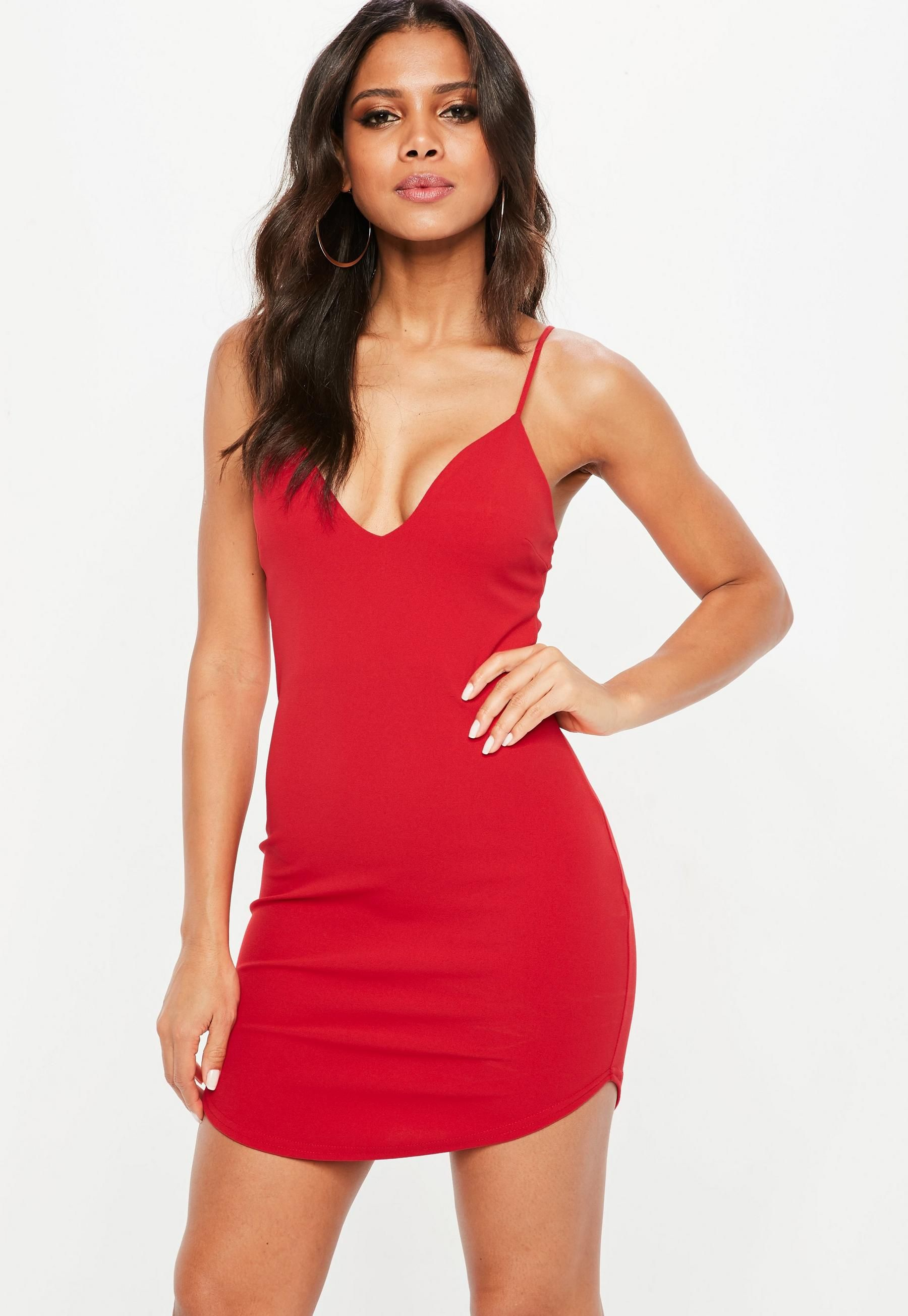 Red Strappy Plunge Bodycon Dress Missguided Plunge Bodycon Dress Bodycon Dress Bodycon Fashion