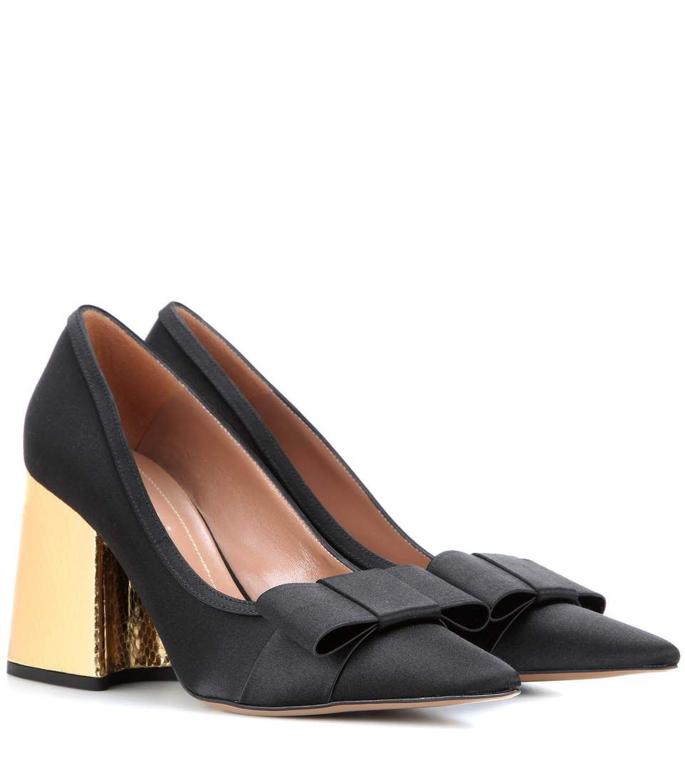 Embellished Satin Slingback Pumps - Black Marni JNWBkUlPz