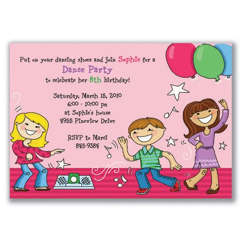 Dancing kids invitations pink birthday party ideas pinterest birthday party ideas dancing kids invitations pink filmwisefo Images