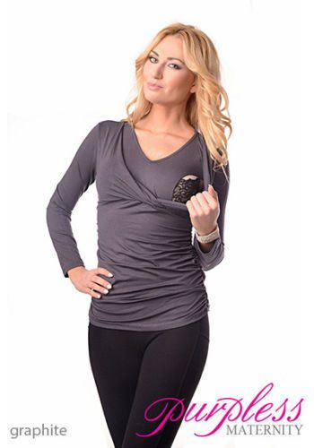 Charcoal maternity/nursing top Size 10/M