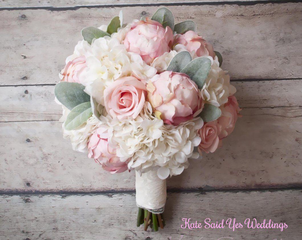 Peonie Bouquet Da Sposa.Silk Bouquet Peony Rose And Hydrangea Ivory And Blush Wedding