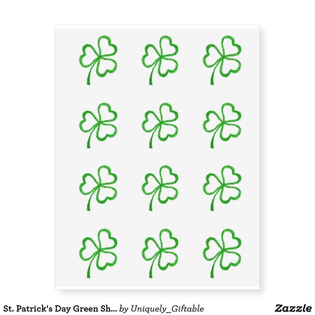 St Patrick S Day Green Shamrock Temporary Tattoos