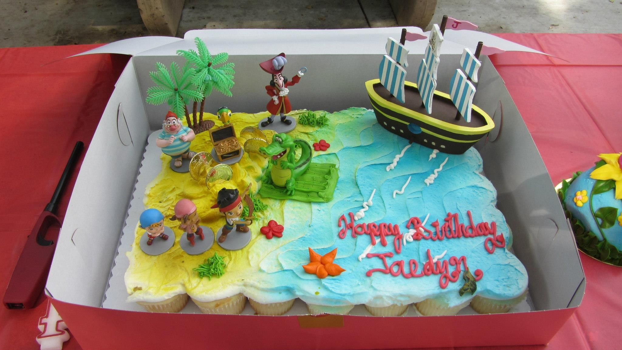 Jake And The Never Land Pirates Themed Cake Cupcake Cake From Safeway And A Collaboration Of Bunch Of T Birthday Cake Kids Boy Birthday Parties Kids Birthday