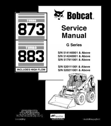 Bobcat 873, 883 skid steer loader service repair manual