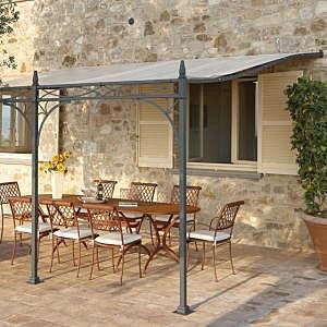 Wrought iron pergola pvc canvas cover portofino roland vlaemynck terrasses couvertes - Terrasses couvertes exterieures ...