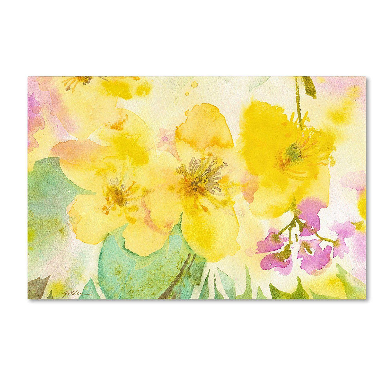Trademark Fine Art Yellow Trio Canvas Wall Art by Sheila Golden, 22 ...
