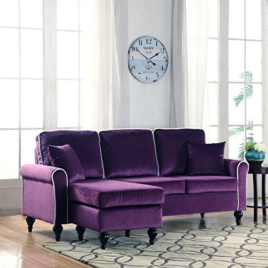 Captivating Classic And Traditional Small Space Velvet Sectional Sofa With Reversible  Chaise (Purple)
