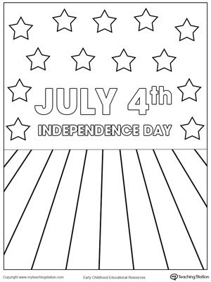 Celebrating July 4th Independence Day Coloring Page Drawing