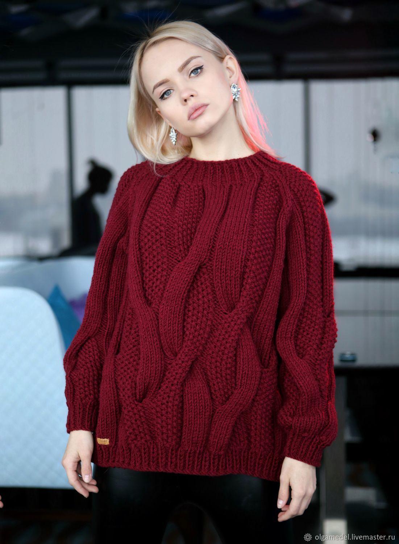 купить объёмный жемчужный свитер в цвете бордо бордовый свитер с