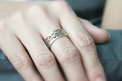 7 mm Perforated Silver Ring Sterling Ring .925 Silver Ring Personalize – RingEngrave