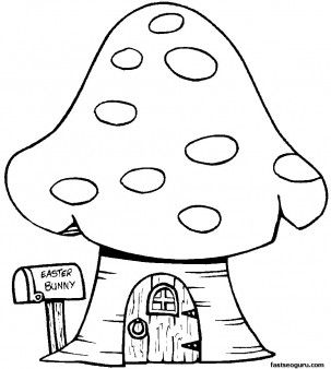 Print out Easter Bunny Mushrooms House Coloring Page for kids