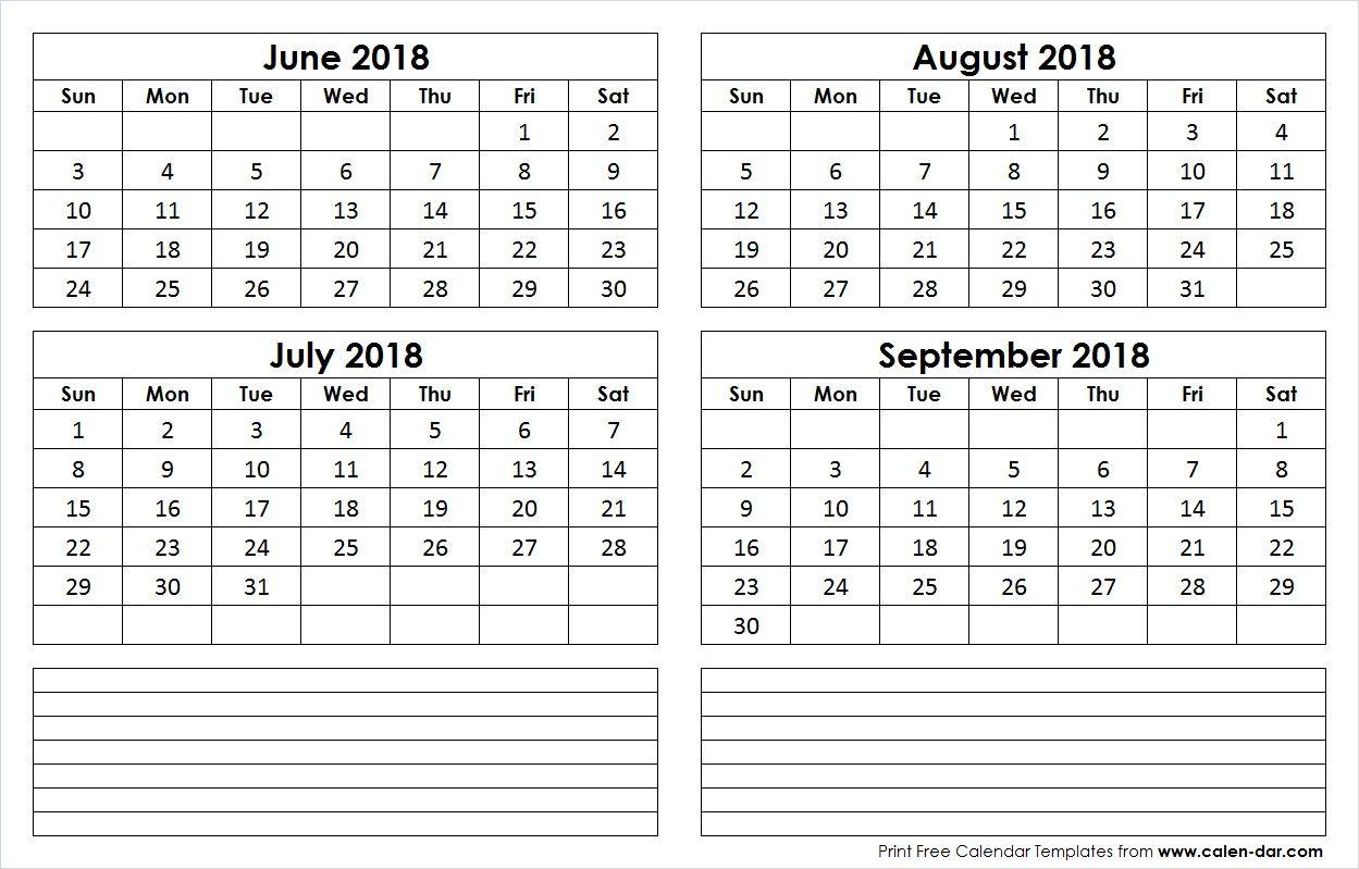 June July August September 4 Month 2018 Calendar Free Printable Calendar Template Printable 2018 Calendar Template
