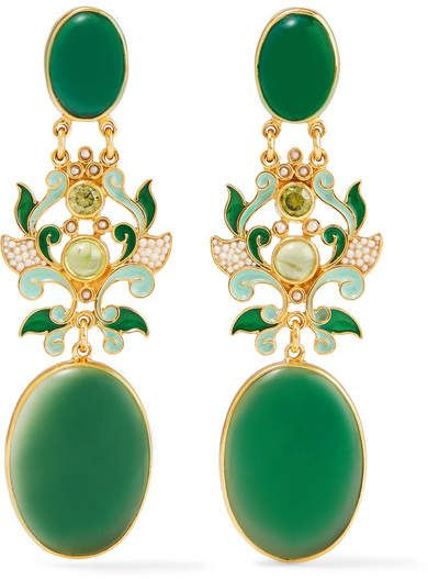 8d310c94f Percossi Papi - Gold-plated and enamel multi-stone earrings in 2019 ...