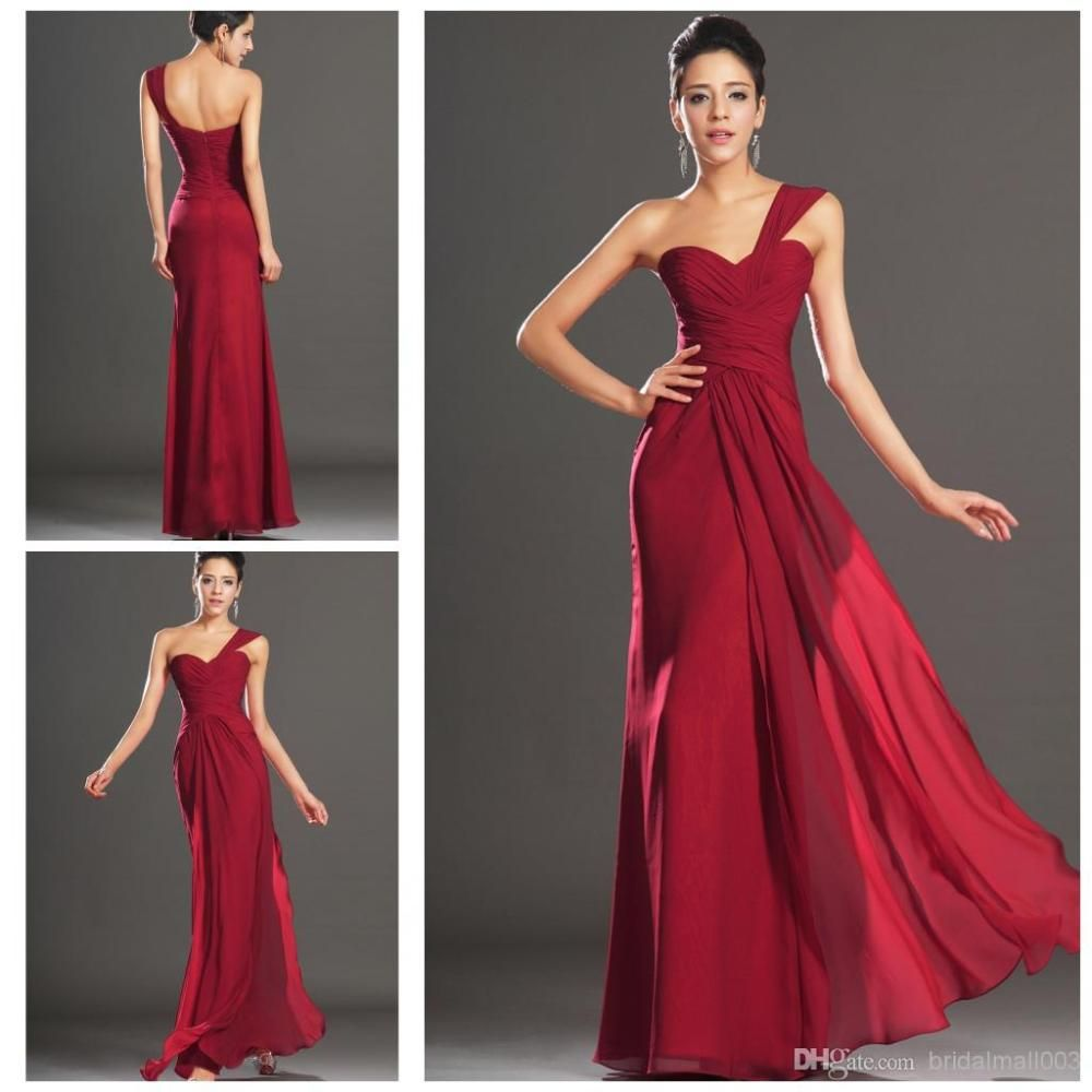 2014 a line one shoulder bridesmaid dress with pleates backless 2014 a line one shoulder bridesmaid dress with pleates backless dark red chiffon long bridesmaid ombrellifo Images
